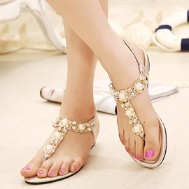 Ericdress Sweet Pearls Clip-toe Flat Sandals