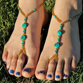 Ericdress Bohemian Style Color Block Beaded Anklets(Price for a Pair)