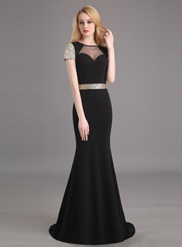 Ericdress Vintage Short Sleeves Long Mermaid Evening Dress