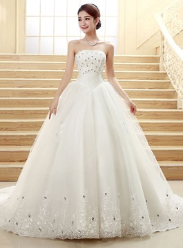 Ericdress Pretty Strapless Beading Cathedral Train Wedding Dress