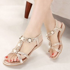 Ericdress Summer Sweet Pearls Flat Sandals