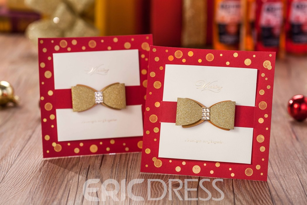 Bowknot Square Invitation Cards (20 Pieces One Set)