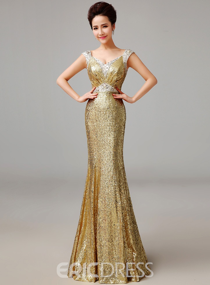 Ericdress Gorgerous Sequins Floor-Length Long Sheath Evening Dress