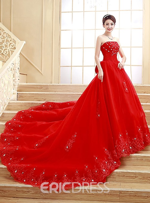 Ericdress Pretty Strapless Beading Cathedral Train Color Wedding Dress