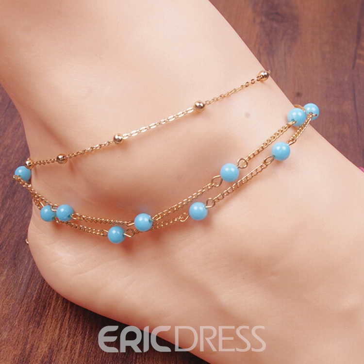 Ericdress Cute Bead Decorated Alloy Anklet