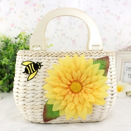 Ericdress Cute Bee and Flower Knitted Tote Bag