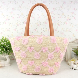 Ericdress Lace Flower Decorated Knitted Tote Bag