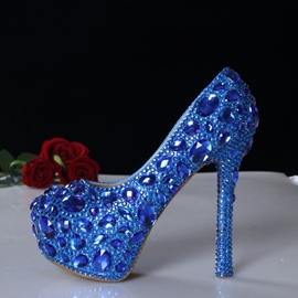 Ericdress Superb Blue Crystal Handcraft Wedding Shoes