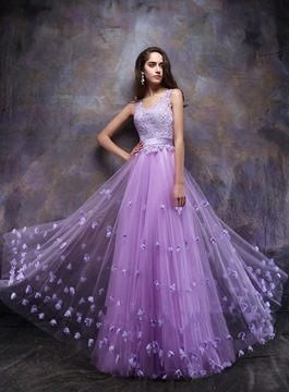 Ericdress Glorious Straps A-Line Appliques Floor-Length Prom Dress