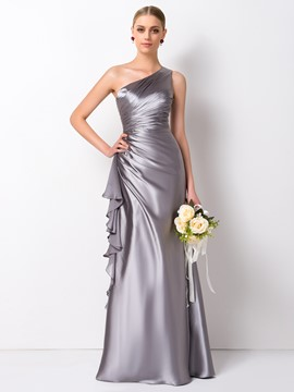 Ericdress Elegant Sheath/Column One Shoulder Long Bridesmaid Dress