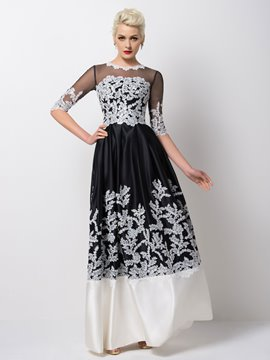 Ericdress Excellent Half-Sleeve Appliques Long Evening Dress