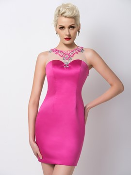 Ericdress Attractive Jewel Neck Beaded Sheath Cocktail Dress