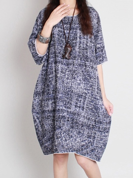 Ericdress Round Neck Half Sleeve Casual Dress