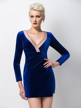 Ericdress Long Sleeves Sheath Short Cocktail Dress