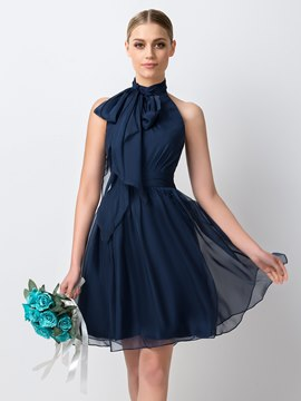 Ericdress Unique Halter Knee Length Bridesmaid Dress