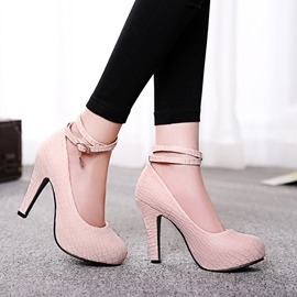 Simple Solid Color Ankle Strap Pumps