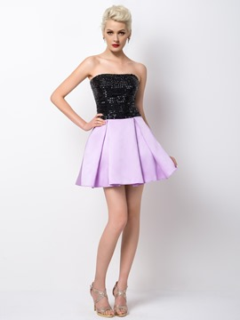 Ericdress Delicate Strapless Beaded Short A-Line Cocktail Dress