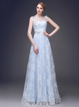 Ericdress Romantic Jewel Neck A-Line Appliques Long Prom Dress