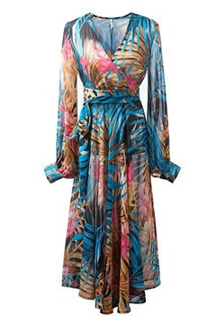 Ericdress V-Neck Long Sleeve Floral Print Maxi Dress