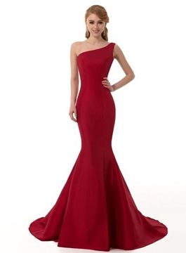 Ericdress Floor-Length One Shoulder Mermaid Red Prom Dress 2019