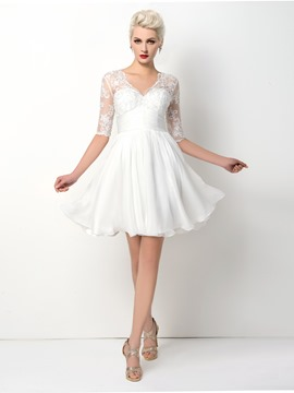 Ericdress Spectacular Half-Sleeve A-Line V-Neck Cocktail Dress