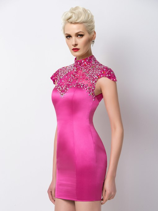 Ericdress Bright High Neck Beaded Hollow-Out Cocktail Dress