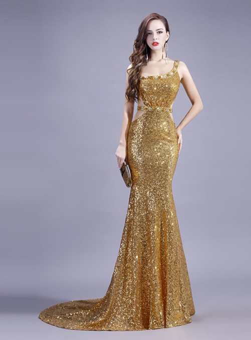 Ericdress Sexy Sequins Mermaid Open Back Long Evening Dress