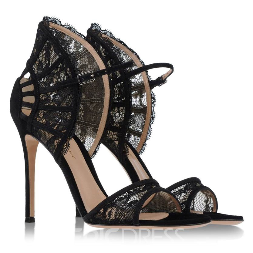 Lace Ankle Strap Stiletto Sandals
