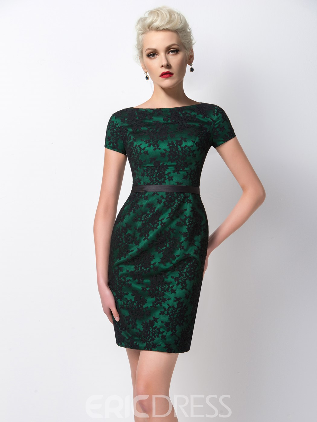 Ericdress Vogue Sheath Appliques Short Sleeves Cocktail Dress