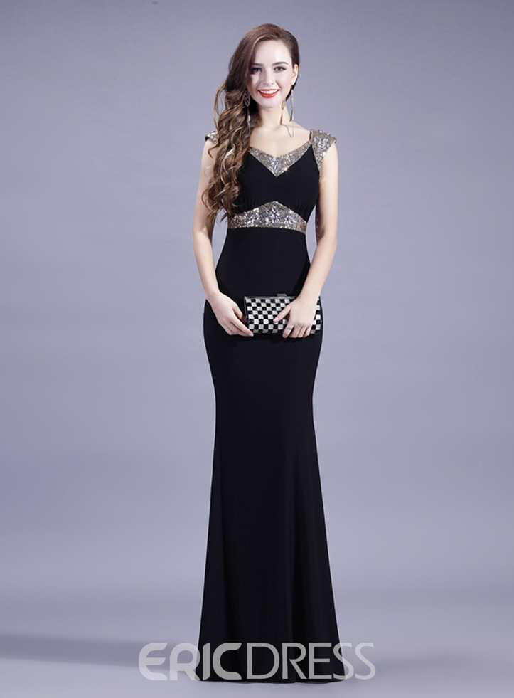 Ericdress Sexy Beaded Sheath Long Evening Dress