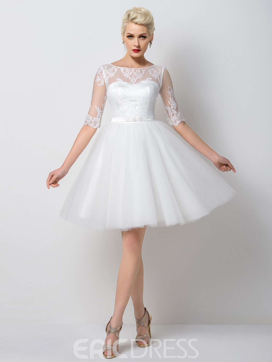 Ericdress Dramatic A-Line Half Sleeves Appliques Short Cocktail Dress