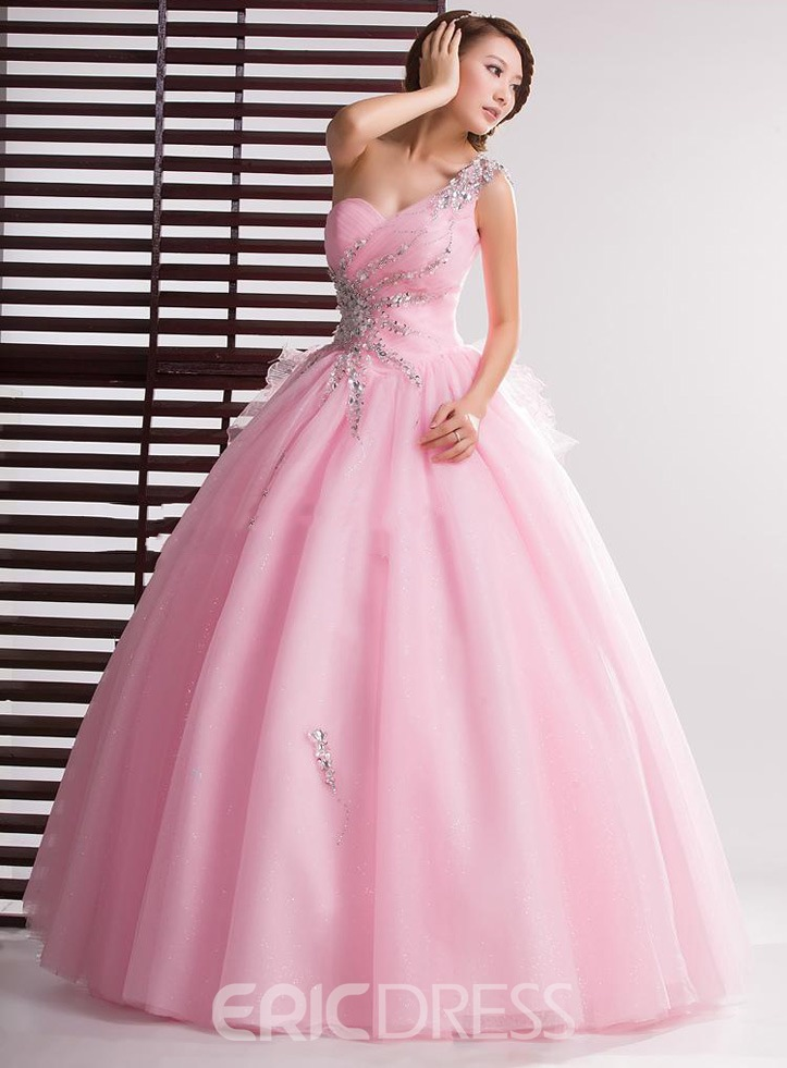 Ericdress Admirable One-Shoulder Beaded Ball Gown Quinceanera Dress