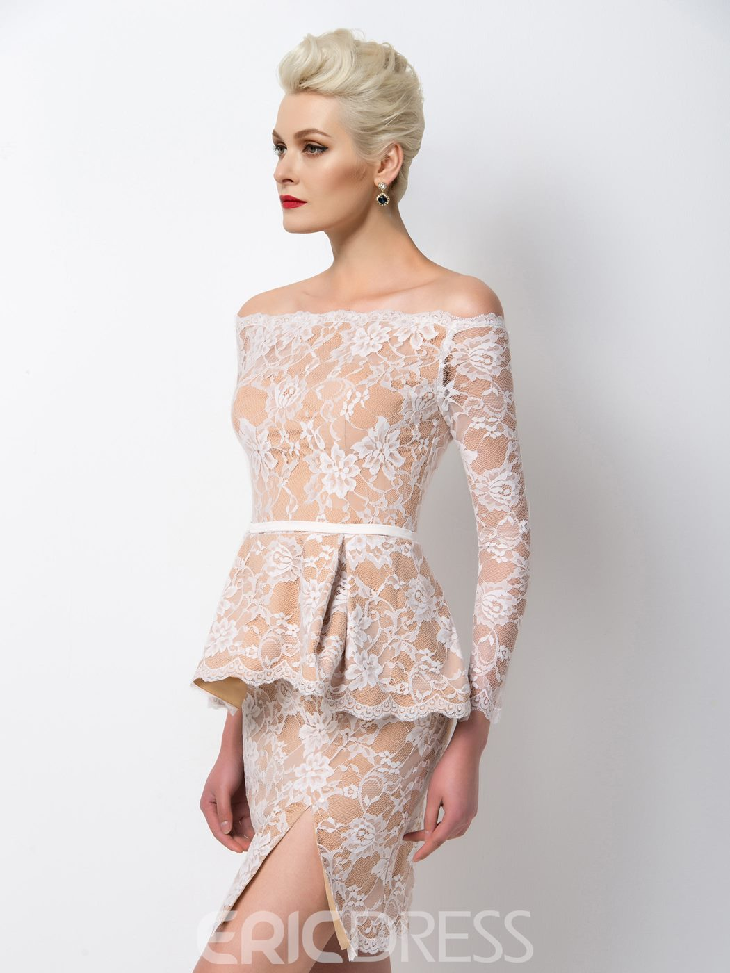 Ericdress Modern Off-The-Shoulder Lace Peplum Cocktail Dress