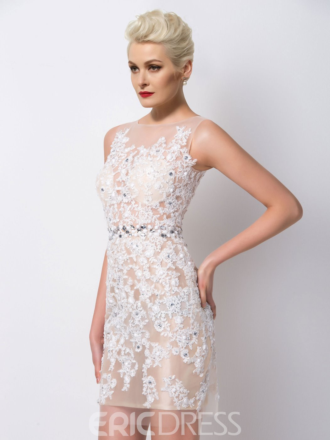 Ericdress Glamorous Appliques Beaded Sheath Cocktail Dress