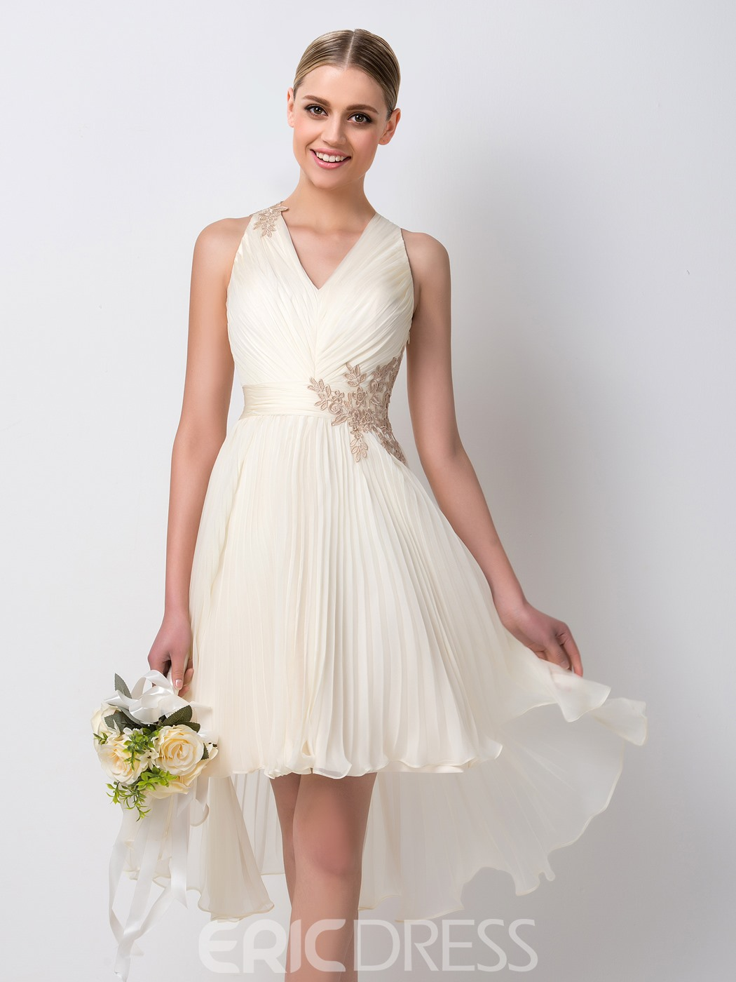 Ericdress Pretty V-Neck Appliques Asymmetry Bridesmaid Dress