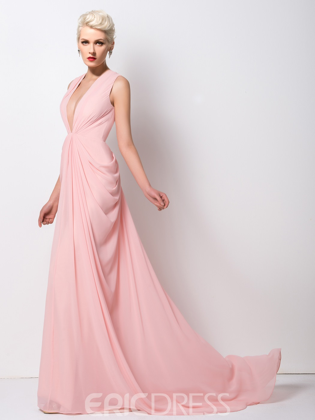 607aaf2cfe97 Ericdress Classy Deep-V Neck Ruched Long Evening Dress 11315139 ...