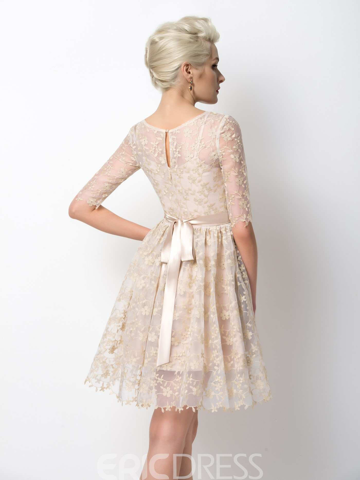 Ericdress Delicate Half Sleeves Appliques A-Line Homecoming Dress