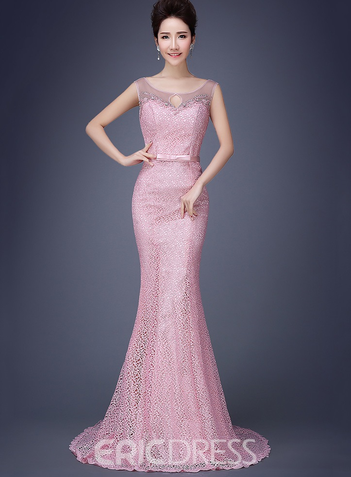 73342ffac8018b Ericdress Bowknot Mermaid Lace Long Evening Dress | ExtraordinaryDresses.com
