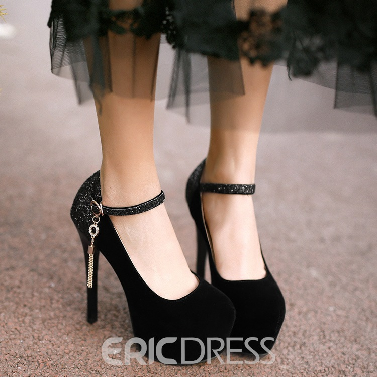 Shining Sequin Patchwork Ankle Strap Prom Shoes