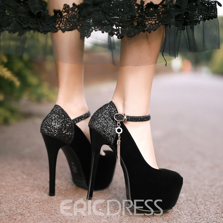 Ericdress Shining Sequin Patchwork Ankle Strap Prom Shoes
