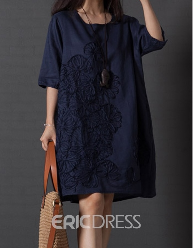 Ericdress Half Sleeve Round-Neck Casual Dress