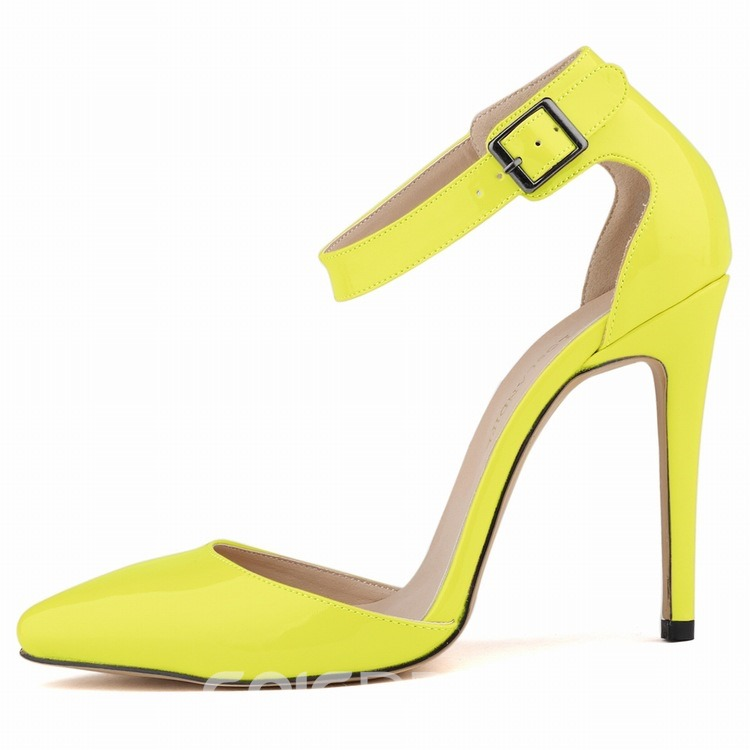 Ericdress Candy Color Line-Style Buckle Stiletto Heel Pointed Toe Women's Sandals