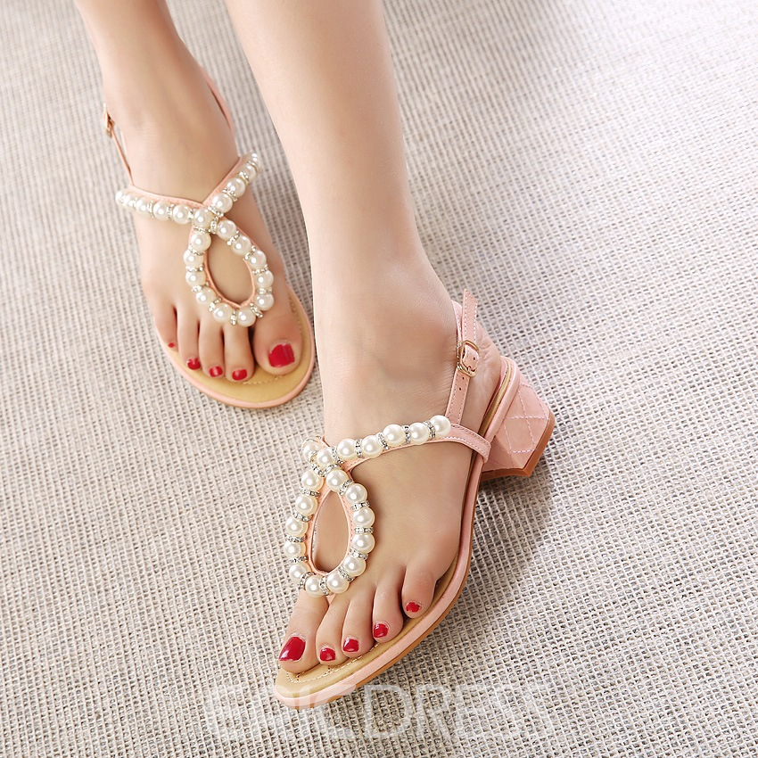 Ericdress Sweet Pearls Clip-toe Sandals