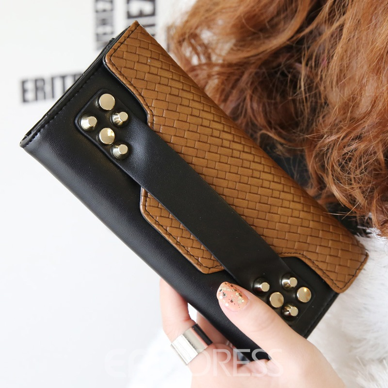 Ericdress Chic Design Rivet Decorated Color Block Woven Pattern PU Purse