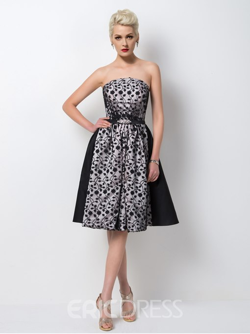 Ericdress Courtlike Strapless A-Line Knee-Length Cocktail Dress