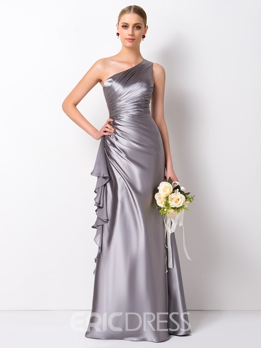 Ericdress Sheath One Shoulder Ruffles Long Bridesmaid Dress