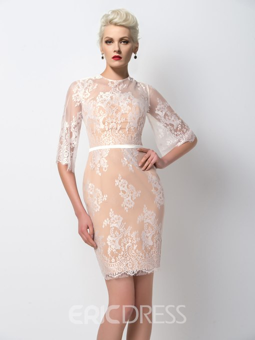 Ericdress Exclusive Half-Sleeve Sheath Lace Cocktail Dress