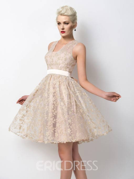 Ericdress Straps A-Line Lace Cocktail Dress