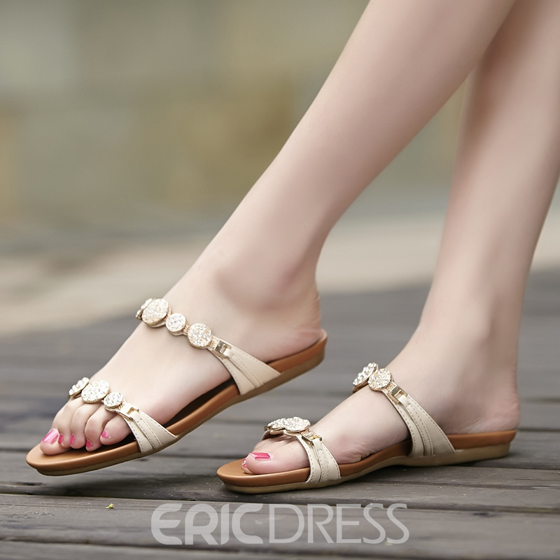 Ericdress Summer Rhinestone Decoration Slippers