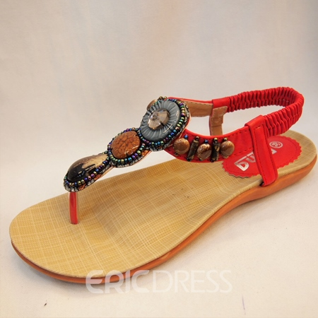 Retro Beads Decoration Clip-toe Flat Sandals